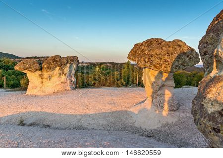 Sunrise Panorama of rock formation The Stone Mushrooms near Beli plast village, Kardzhali Region, Bulgaria