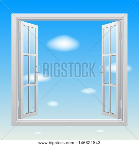 Open white double window with transparent glass on blue sky background. Concept design. Contains the Clipping Path