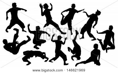 Silhouettes of a boy dancing break and street dance. Ten black silhouettes of street dance