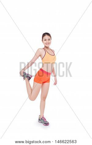 Fitness woman doing stretching exercise on white background