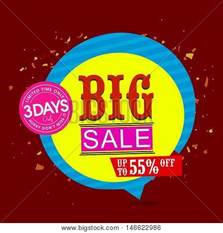 Big Sale with Upto 55% Off for Limited time only, Creative Sale Paper Tag or Banner design, Colorful vector illustration.