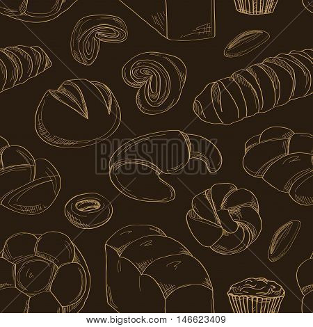 Bakery and pastry products icons set pattern with various sorts of bread, sweet buns, cupcakes, dough and cakes for bakery shop or food design