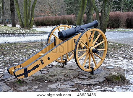 Detailed view of the old Napoleonic cannon militarily