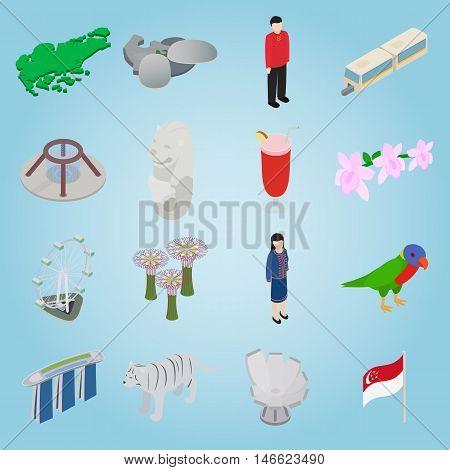 Isometric singapore icons set. Universal singapore icons to use for web and mobile UI, set of basic singapore elements vector illustration