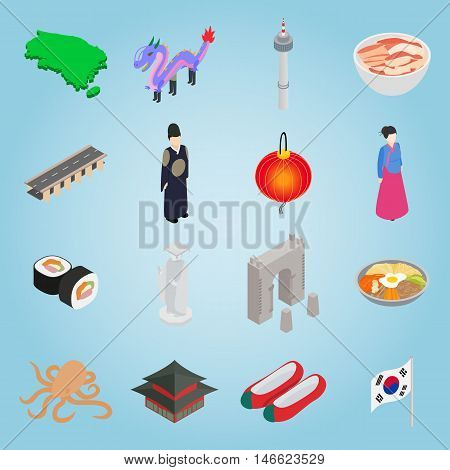 Isometric south korea icons set. Universal south korea icons to use for web and mobile UI, set of basic south korea elements vector illustration