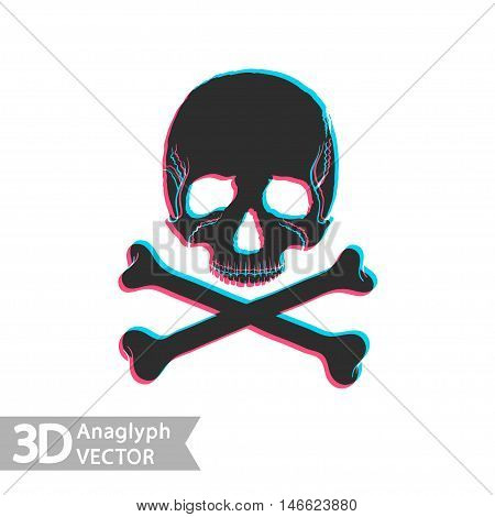 Flat style skull and bones with stereoscopic anaglyph effect. Vector icon