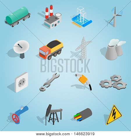Isometric industrial icons set. Universal industrial icons to use for web and mobile UI, set of basic industrial elements vector illustration