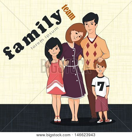 Cute family with two children. Mom dad son and daughter hugging together. Isolated on white Vector illustration.