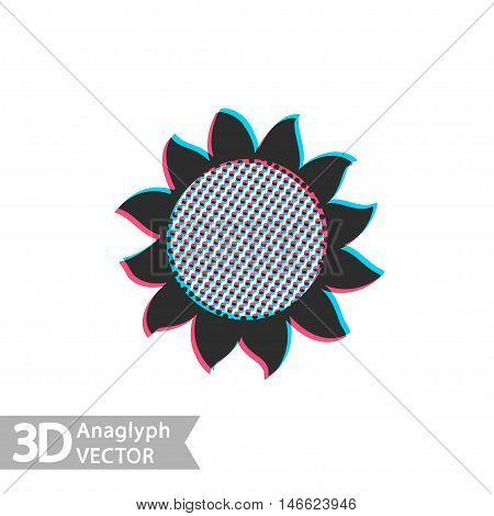 Flat style sunflower with stereoscopic anaglyph effect. Vector icon