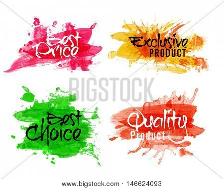 Sale and Discount Labels set, Best Price Offers Stickers, Exclusive Quality Product Tags or Badges collection, Creative handwritten lettering design on watercolor splash, Abstract vector illustration.