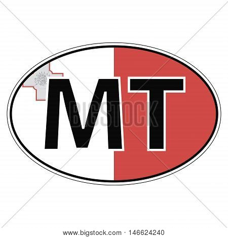 Sticker on car oval, ellipse, flag Malta with the inscription MT vector for print or website design for language buttons