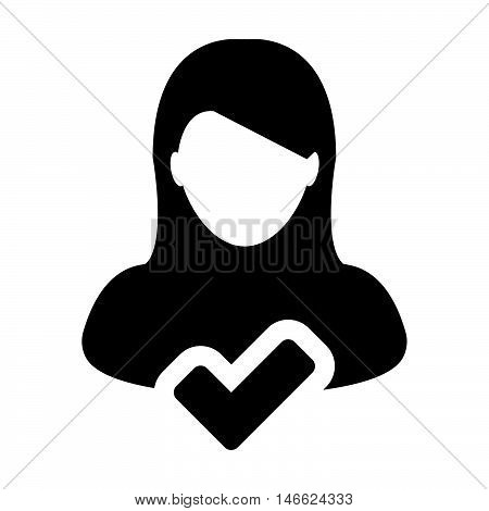 Woman User Icon - Approve, Accept, Account, Human, Avatar, Profile Glyph Vector illustration