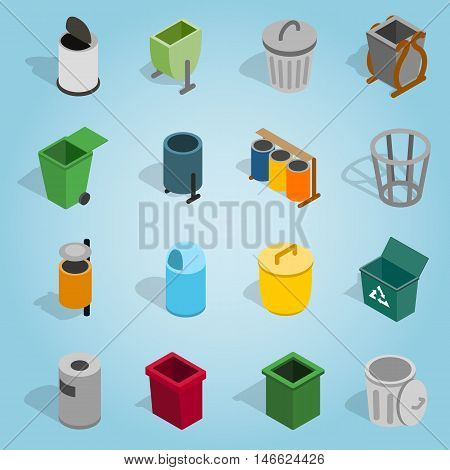 Isometric trash bin icons set. Universal trash bin icons to use for web and mobile UI, set of basic trash bin elements vector illustration