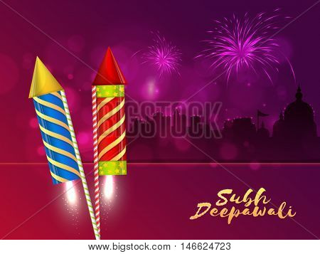 Creative festive background with glossy firecrackers (Rocket) and Silhouette of Temple for Indian Festival of Lights, Shubh Deepawali (Happy Deepawali or Diwali) celebration.