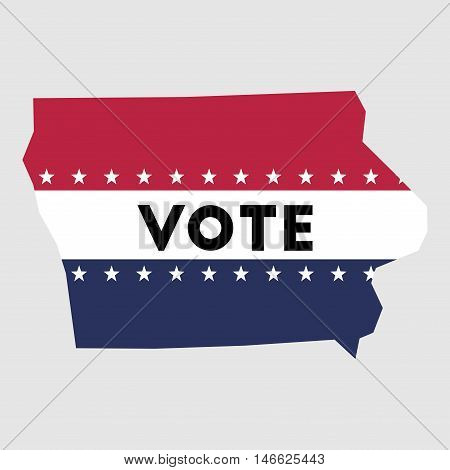 Vote Iowa State Map Outline. Patriotic Design Element To Encourage Voting In Presidential Election 2