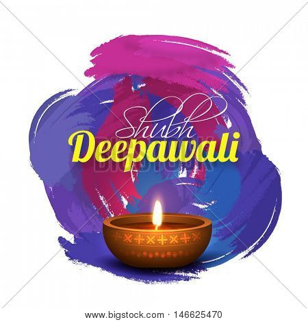 Elegant Greeting Card design with illuminated Oil Lamp (Diya) on abstract watercolor brush stroke background for Shubh Deepawali (Happy Deepawali or Diwali) celebration.