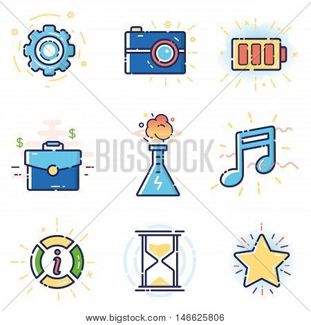 Vector modern stylish flat linear icons set of basic office marketing items business management social media for web and app design and development - part 1
