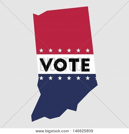 Vote Indiana State Map Outline. Patriotic Design Element To Encourage Voting In Presidential Electio