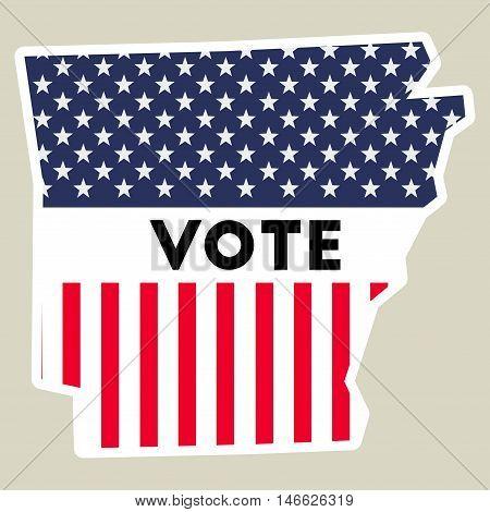 Usa Presidential Election 2016 Vote Sticker. Arkansas State Map Outline With Us Flag. Vote Sticker V