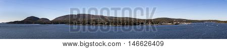 Bay of Bar Harbor in Maine (USA) with the Acadia National Park and the Cadillac Mountain