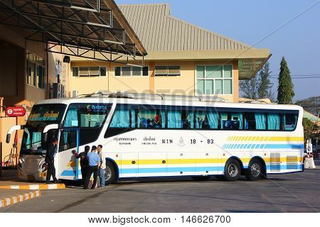 CHIANGMAI , THAILAND - FEBRUARY 15 2014: Scania Super long 15 meter bus of Sombattour company. route Bangkok and Chiangmai. Photo at New Chiangmai bus station, thailand.