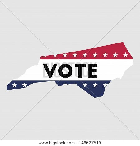 Vote North Carolina State Map Outline. Patriotic Design Element To Encourage Voting In Presidential