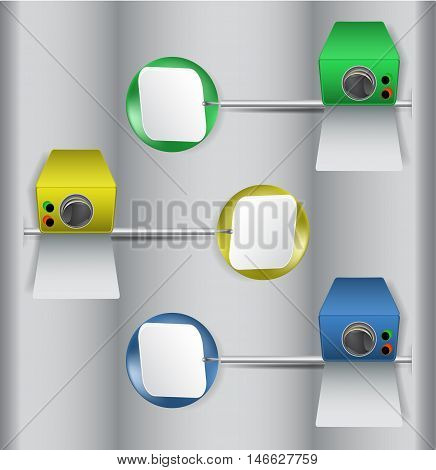 Infographics template with stylized monitoring device and paper banners. Set of three surveillance equipments and buttons
