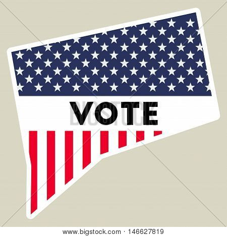 Usa Presidential Election 2016 Vote Sticker. Connecticut State Map Outline With Us Flag. Vote Sticke