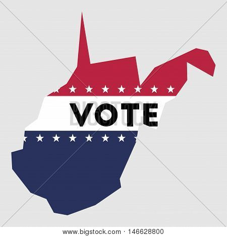 Vote West Virginia State Map Outline. Patriotic Design Element To Encourage Voting In Presidential E