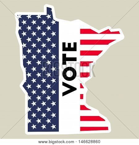 Usa Presidential Election 2016 Vote Sticker. Minnesota State Map Outline With Us Flag. Vote Sticker