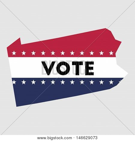 Vote Pennsylvania State Map Outline. Patriotic Design Element To Encourage Voting In Presidential El