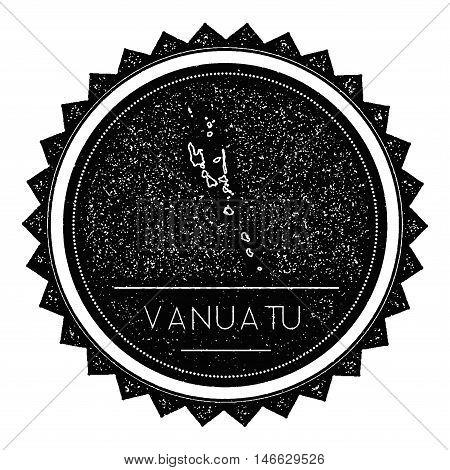 Vanuatu Map Label With Retro Vintage Styled Design. Hipster Grungy Vanuatu Map Insignia Vector Illus
