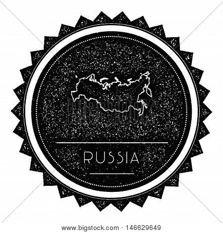 Russian Federation Map Label With Retro Vintage Styled Design. Hipster Grungy Russian Federation Map