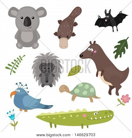 Set of different animals of Australia on white background.