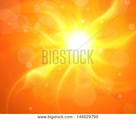 Orange background with glaring sun, vector sunny illustration.