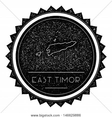 Timor-leste Map Label With Retro Vintage Styled Design. Hipster Grungy Timor-leste Map Insignia Vect