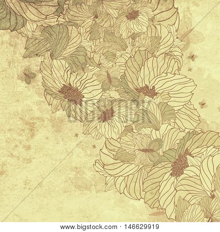 Grunge Dirty Floral Background With Butterflies And Fowers