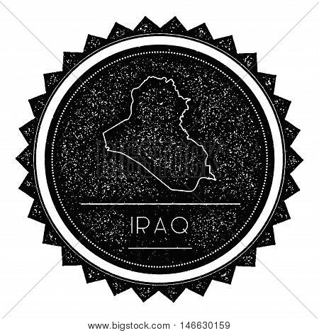Iraq Map Label With Retro Vintage Styled Design. Hipster Grungy Iraq Map Insignia Vector Illustratio