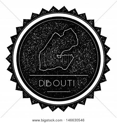 Djibouti Map Label With Retro Vintage Styled Design. Hipster Grungy Djibouti Map Insignia Vector Ill