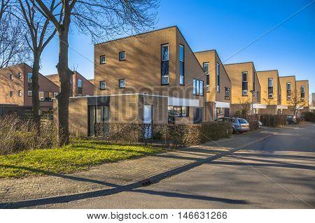 Repetitive Houses In A Suburban Neighborhood