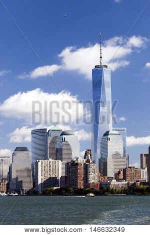 NEW YORK - OCTOBER 8: Freedom Tower in Lower Manhattan on October 8 2014. One World Trade Center is the tallest building in the Western Hemisphere and the third-tallest building in the world
