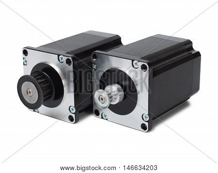 Two stepping motors isolated on white background