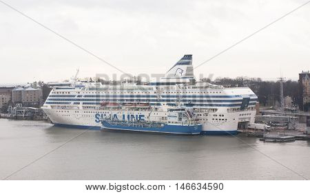 Helsinki, Finland - 21 December 2015: The Ferry Silja Line In Port Of Helsinki.