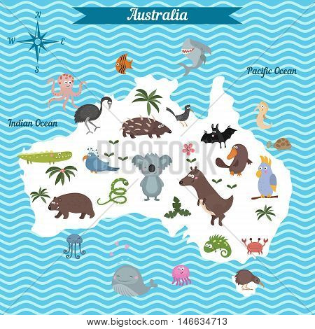 Cartoon map of Australia continent with different animals. Colorful cartoon illustration for children and kids. Australia mammals and sea life.