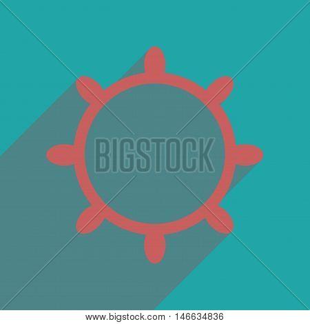 Flat web icon with long  shadow ship steering wheel