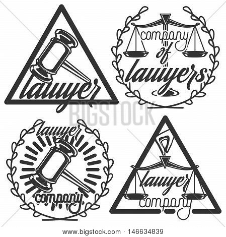 Vintage lawyer emblems. Vector vintage lawyer logotypes collection. Juridical firm labels and badges. Jurist icon templates. Act, principle symbols. Attorney signs. Legal concepts.