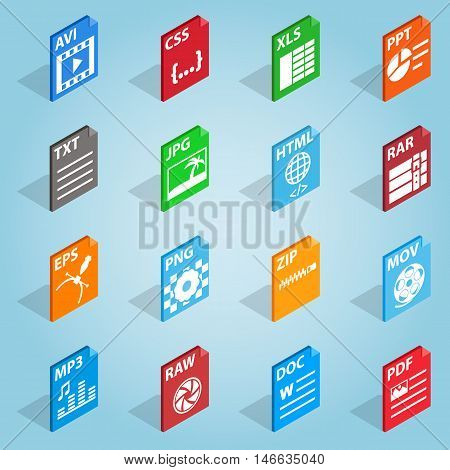 Isometric file format icons set. Universal file format icons to use for web and mobile UI, set of basic file format elements vector illustration