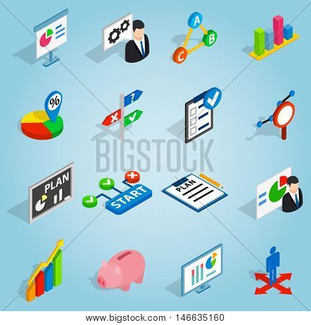 Isometric business plan icons set. Universal business plan icons to use for web and mobile UI, set of basic business plan elements vector illustration