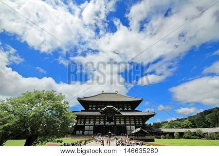 Student enjoy the field trip at Todiji temple in bright sky day. The Daibutsuden is the world's largest wooden building ,Nara, Japan.