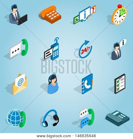 Isometric call center set icons. Universal call center icons to use for web and mobile UI, set of basic call center elements vector illustration
